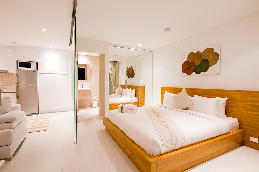 Luxury one bedroom pool and terrace suite litchen and sleeping area Koh Samui